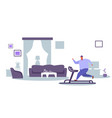 fat obese man running on treadmill oversize fatty vector image vector image