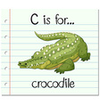 Flashcard letter C is for crocodile vector image vector image