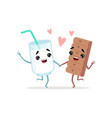 glass of milk and chocolate bar dancing holding by vector image vector image