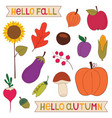 hello fall nature elements clip art set vector image