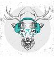 hipster animal deer with headphones vector image vector image