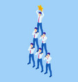 isometric teamwork businessmen pyramid to reach vector image