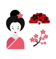 Japanese woman folk art maiden character vector image vector image