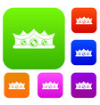king crown set color collection vector image vector image