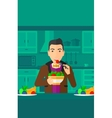 Man eating salad vector image vector image