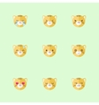 minimalistic flat tiger emotions icon set vector image vector image