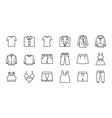 outline clothing icons vector image
