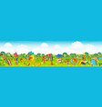 panoramic playground on meadow vector image vector image