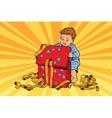 pop art boy opens gift box vector image vector image