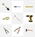 realistic chisel nippers pliers and other vector image vector image