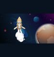 rocket flying in space vector image vector image