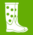 rubber boots icon green vector image vector image