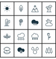 set of 16 world icons includes rain landscape vector image vector image