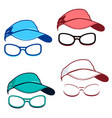set of caps and glasses vector image vector image