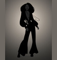 silhouette girl dancing soul funky or disco vector image vector image