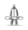snowboarder isolated on white background vector image vector image