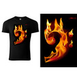 t-shirt design with flaming music sign vector image vector image