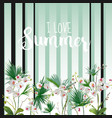 tropical palm leaves and orchid flowers background vector image vector image