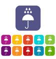 umbrella and rain drops icons set vector image vector image
