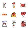 Valentine day icons set cartoon style