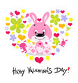 valentines day card with cute bunny - flat vector image