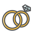 wedding rings filled outline icon valentines day vector image vector image