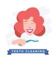 Woman cleaning teeth Beautiful white teeth smile vector image
