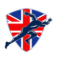 Runner Sprinter Start British Flag Shield vector image
