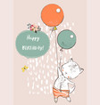 cute cat with balloons vector image