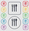 fork knife spoon icon sign symbol on the Round and vector image