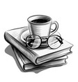 a cup tea and glasses on a stack books vector image