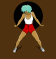 a girl with blue hair in red shorts and a white t vector image vector image