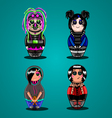 A set of dolls of different subcultures Emo goth vector image