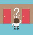 african businessman choosing the door red cartoon vector image