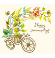 Bike and watercolor flowers tricycle vector image