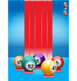 Bingo balls over red stripes vector image vector image