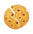 Broken oatmeal biscuit icon crispy baked snack
