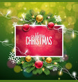 christmas on green background vector image vector image