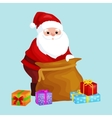 christmas Santa Claus with bag full of presents vector image