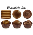 different kind chocolate in brown cups vector image vector image
