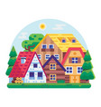 eco friendly district with wooden houses vector image