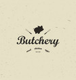 emblem of butchery meat shop with pig silhouette vector image
