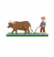 farmer man ploughing paddy field with buffalo eps vector image vector image