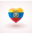 Flag of Ecuador in shape diamond glass heart vector image