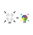flat design concept of puzzle pieces light bulb vector image