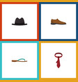 flat icon clothes set of male footware cravat vector image vector image