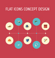 flat icons pipeline valve faucet handcart vector image
