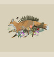 fox running vintage style vector image
