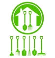 garden green icon with tools vector image