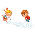 girl and boy play in hopscotch vector image vector image
